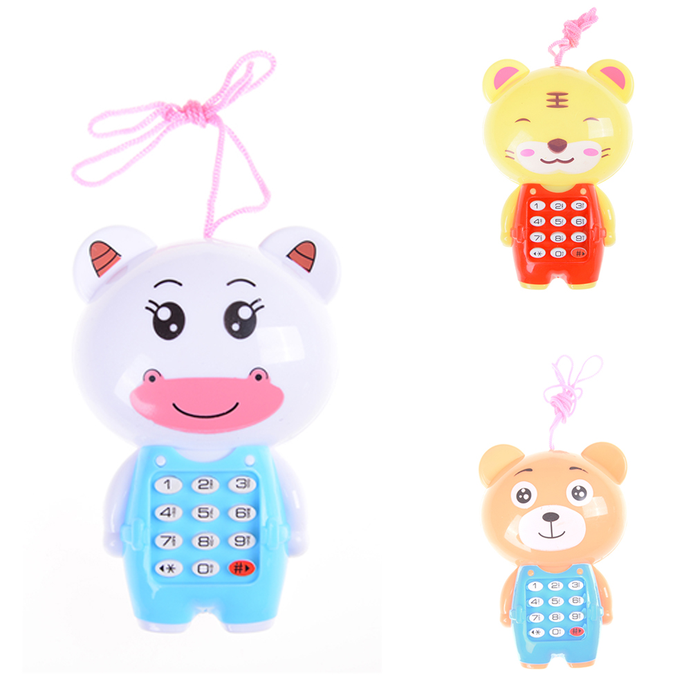 1PCS Baby Cartoon Music Phone Toys Educational Learning Toy Phone Gift For Kids Children's Toys Random Color 7*11cm