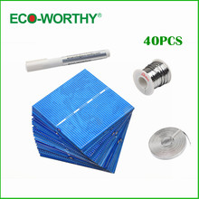 ECO-WORTHY 40pcs 52*78mm poly solar cell full kit tabbing wire bus wire flux pen for DIY Solar Panel