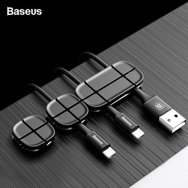 Baseus намотки кабеля Гибкая силиконовая usb кабель Органайзер провода шнура Управление держатель кабельного зажима для Мышь наушники