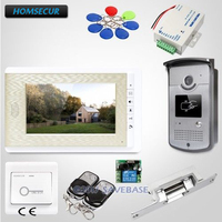 HOMSECUR 7inch Wired Video Door Phone System with Intra monitor Audio Interaction 1V1+Lock