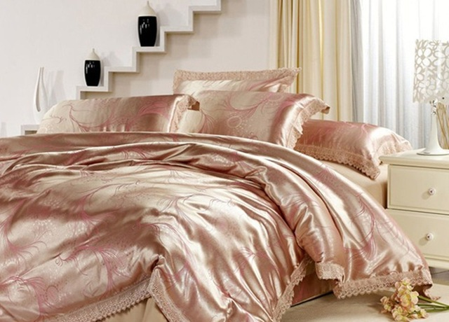 Gold Queen Luxury Christmas Bedding Set Satin Comforter