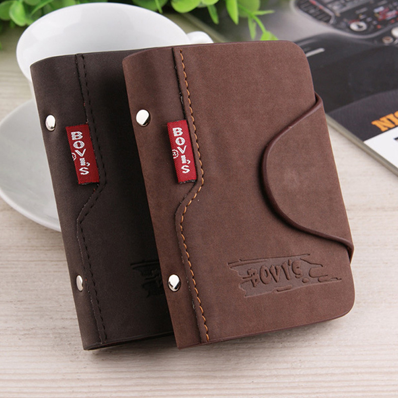 Hasp Business Card&ID Holder Wallet For Credit Cards Unisex Nubuck Genuine Leather Fold Slots Wallet Cover Bags Credit Holder image