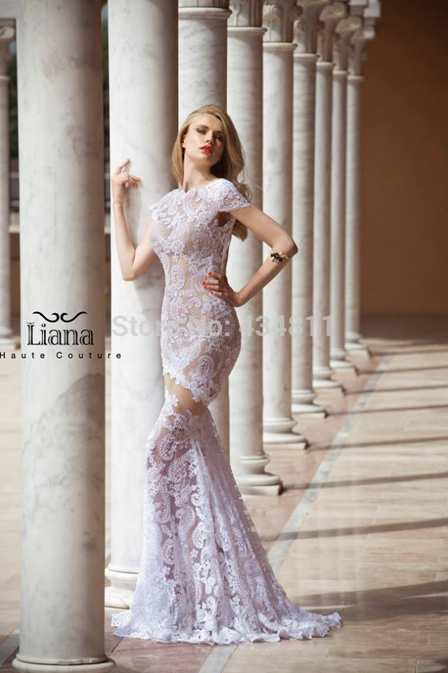 New Fashion GownLace Lilac Wedding Dress Mermaid Long Backless ...