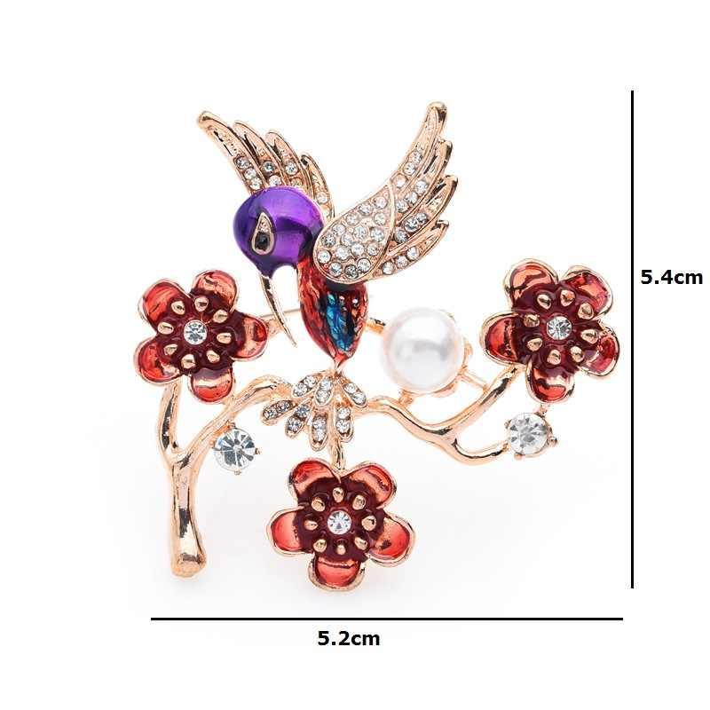 Inokeey Plum Blossom Hummingbird Bros untuk Wanita Bouquet Simulasi Mutiara Enamel