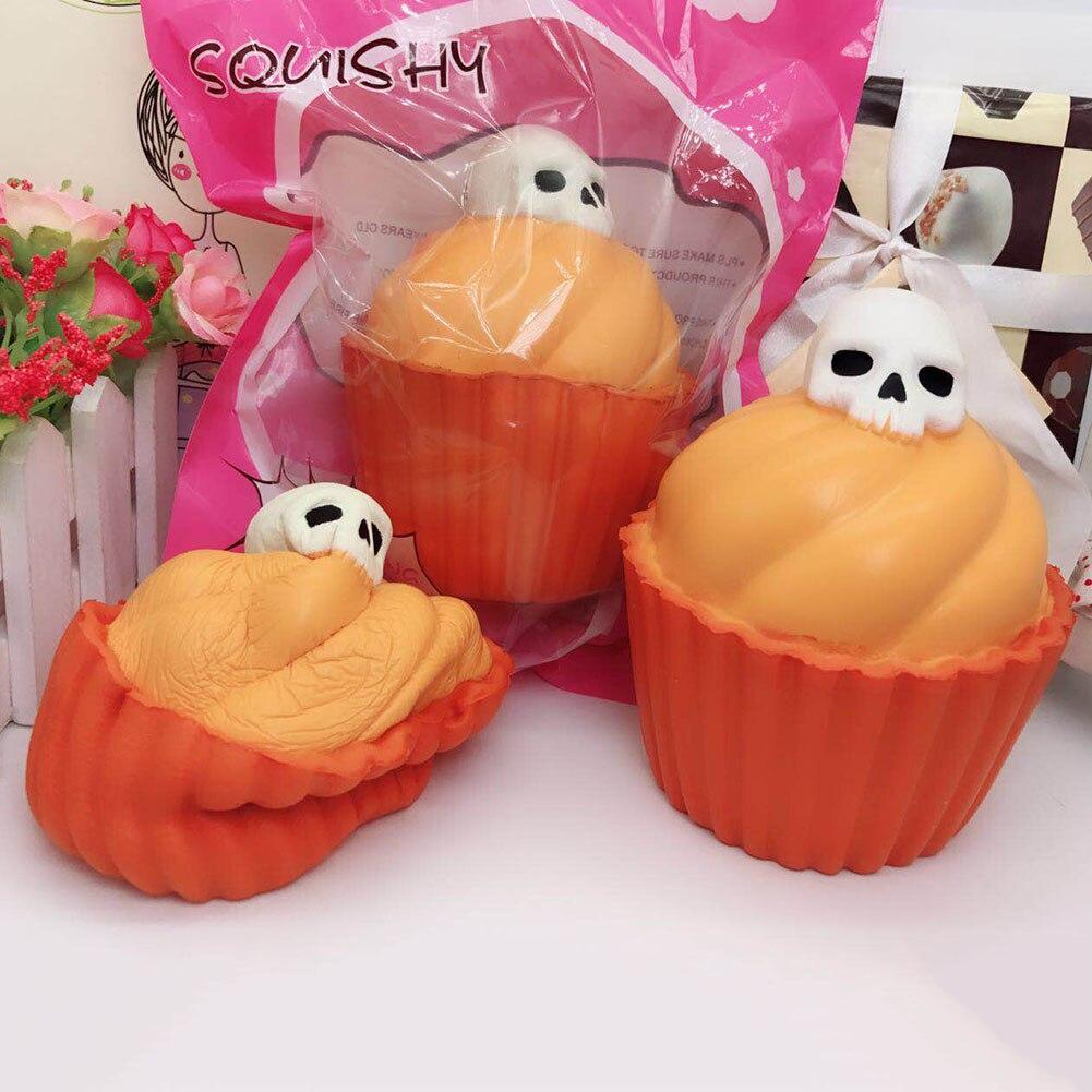 New Halloween Luminous Skull Slow Rising Jumbo Pumpkin Cake Soft Scented Bread Fun Kid Toy Gift