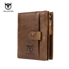 BULLCAPTAIN 2018 New Genuine Leather Men Wallet Small Vintage Zipper&Hasp Male Short Men Wallets Coin Purse Brand More Styles