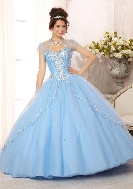 Bordado con cuentas piedras baby blue vestidos de quinceañera barrer de tren rojo coral blanco bustier blusa 2016 de la venta caliente