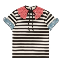 SIPAIYA 2017 Summer Fashion Sweet Striped Bow Sequined T Shirt Women Short Sleeve Runway Tops Female