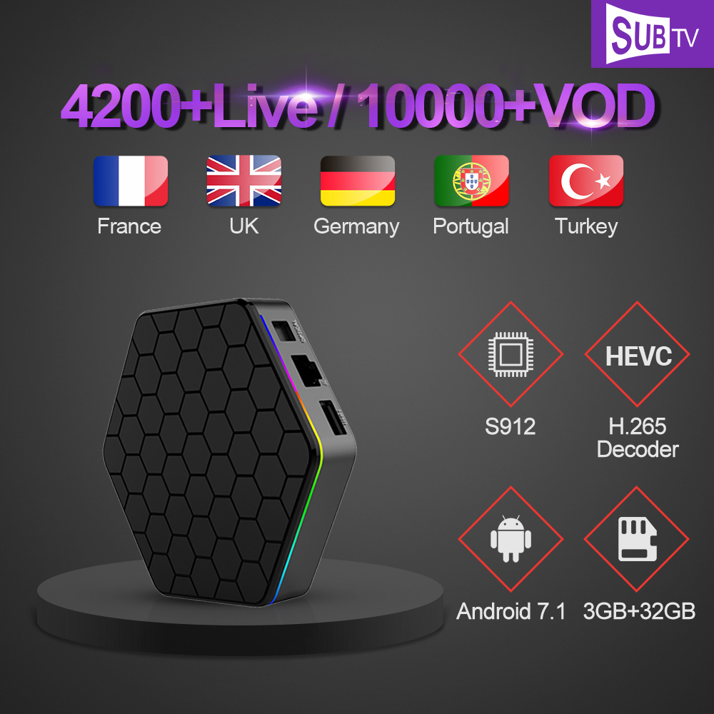 IPTV French Arabic T95Z PLUS TV Box 3GB 32GB Amlogic S912 SUBTV Code Subscription IPTV Europe