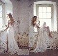 Alta Qualidade de Alta Qualidade Romântico de Rendas Vestidos de Noiva 2017 Cap Luva V Neck Vestidos de Noiva Backless Trem Da Varredura Vestido de Noiva