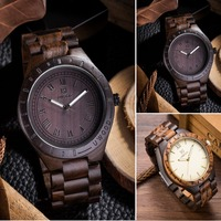 Handmade Men's Wooden Watch 100% Natural Maple and Ebony Wood wrist watch Men 2018 Newest japanese miyota movement Role Relogio
