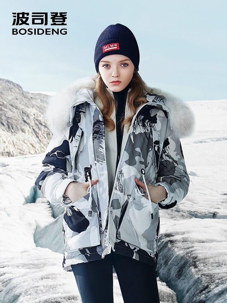 BOSIDENG 2018 nuovo duro Oca inverno Imbottiture Giacca per le donne Imbottiture cappotto vita regolabile impermeabile antivento vera pelliccia B80142140