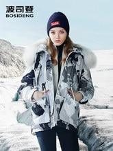 BOSIDENG 새로운 가혹한 겨울 거위 다운 재킷 여성 다운 코트 조절 허리 방수 windproof 진짜 모피 B80142140