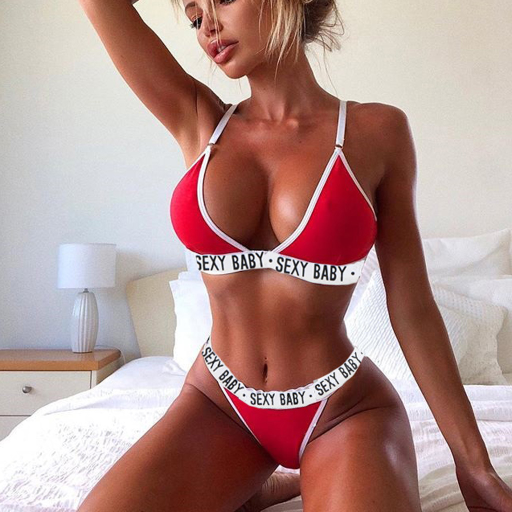 2PCS <font><b>Sexy</b></font> Swimwear Women Summer <font><b>Bikini</b></font> 2019 Bra Triangle Suit <font><b>Bikinis</b></font> Set Swimsuit Bathing Suit Swimming Suit Biquini image