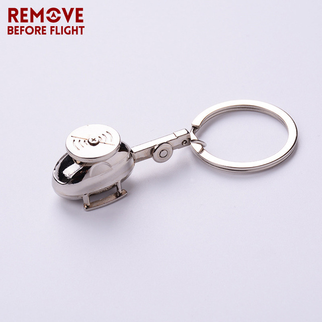 Remove Before Flight Helicopter Shaped Key Ring Chain for Aviation Gifts Creative Metal Plane Keychain Brand