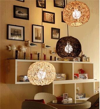 Bambus Runden Ball Pendelleuchten Rattan Garten Restaurant Lampe Schlafzimmer Studie Wohnzimmerlampe