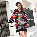 BringBring 2016 New Fashion Women's Cartoon Print Winter Striped Pullover Woman Bear Loose Sweater With Mesh and Ball 1448