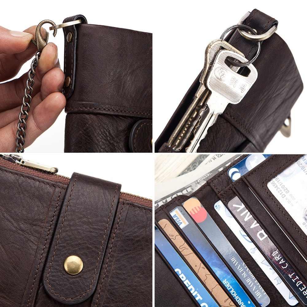 Kavis 100% couro genuíno rfid carteira dos homens cavalo louco carteiras moeda bolsa curto masculino saco de dinheiro qualidade designer mini walet pequeno