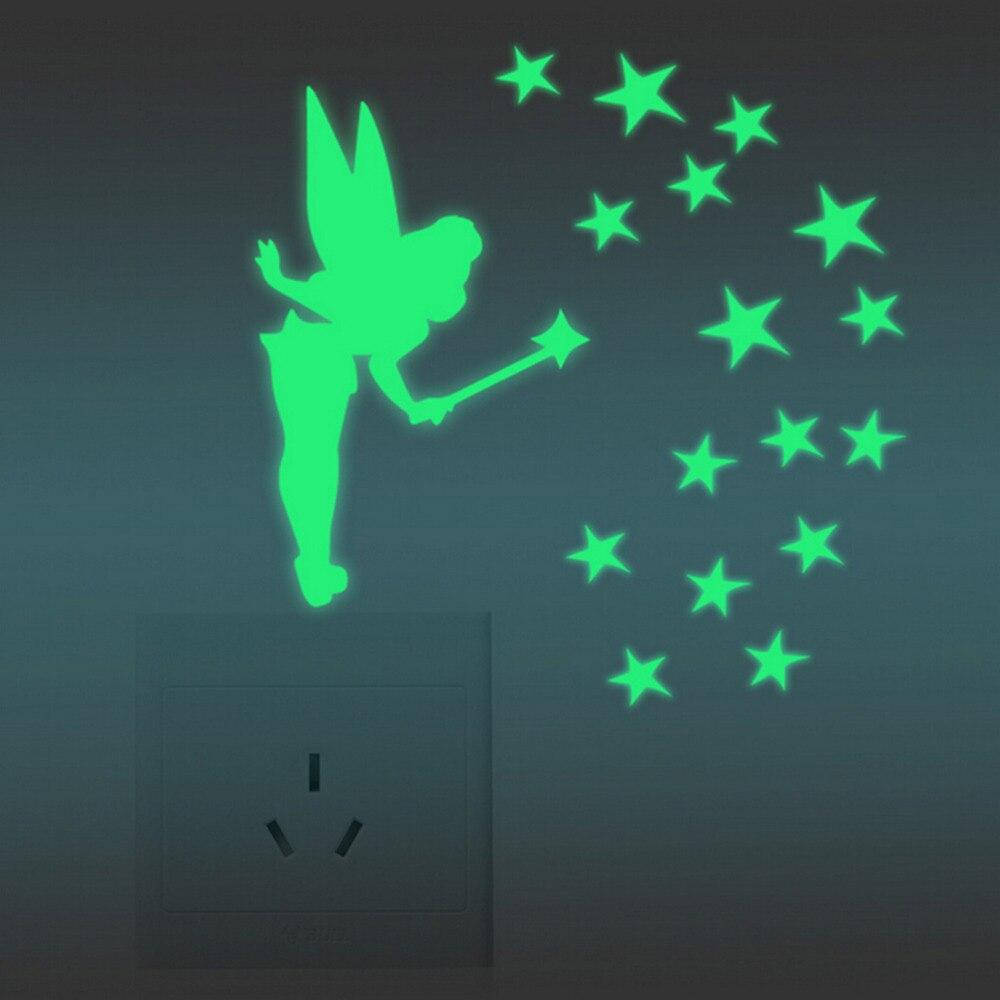 Наклейки на стену Светящиеся в темноте для маленьких детей спальня домашний декор цвет фея звезды светящиеся флуоресцентные обои