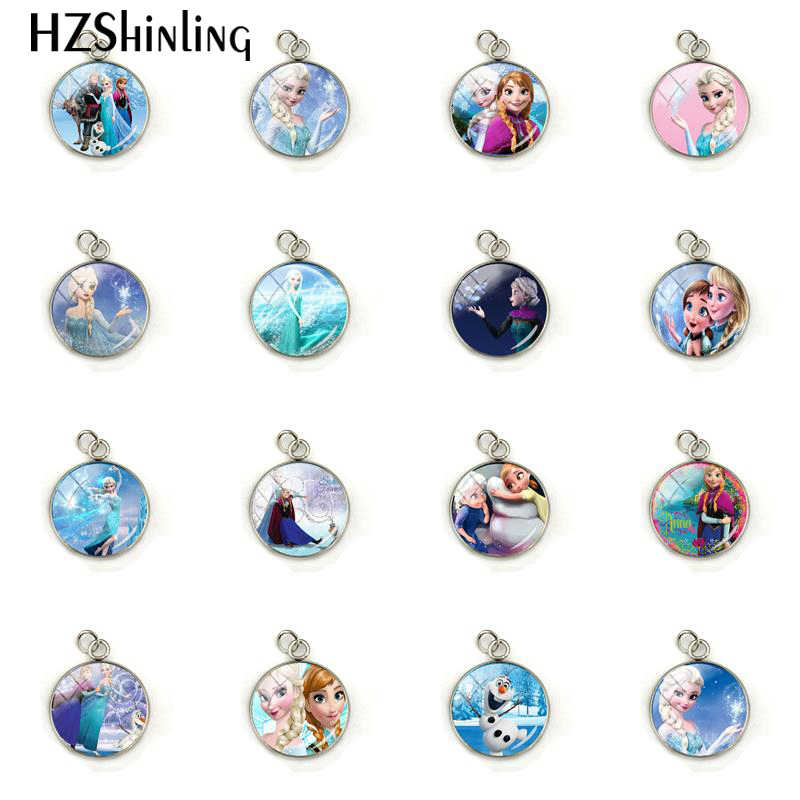 New Fashion Snow Queen Princess Elsa Anna Glass Cabochon Charms Jewelry Hand Craft Stainless Steel Plated Pendant Gifts