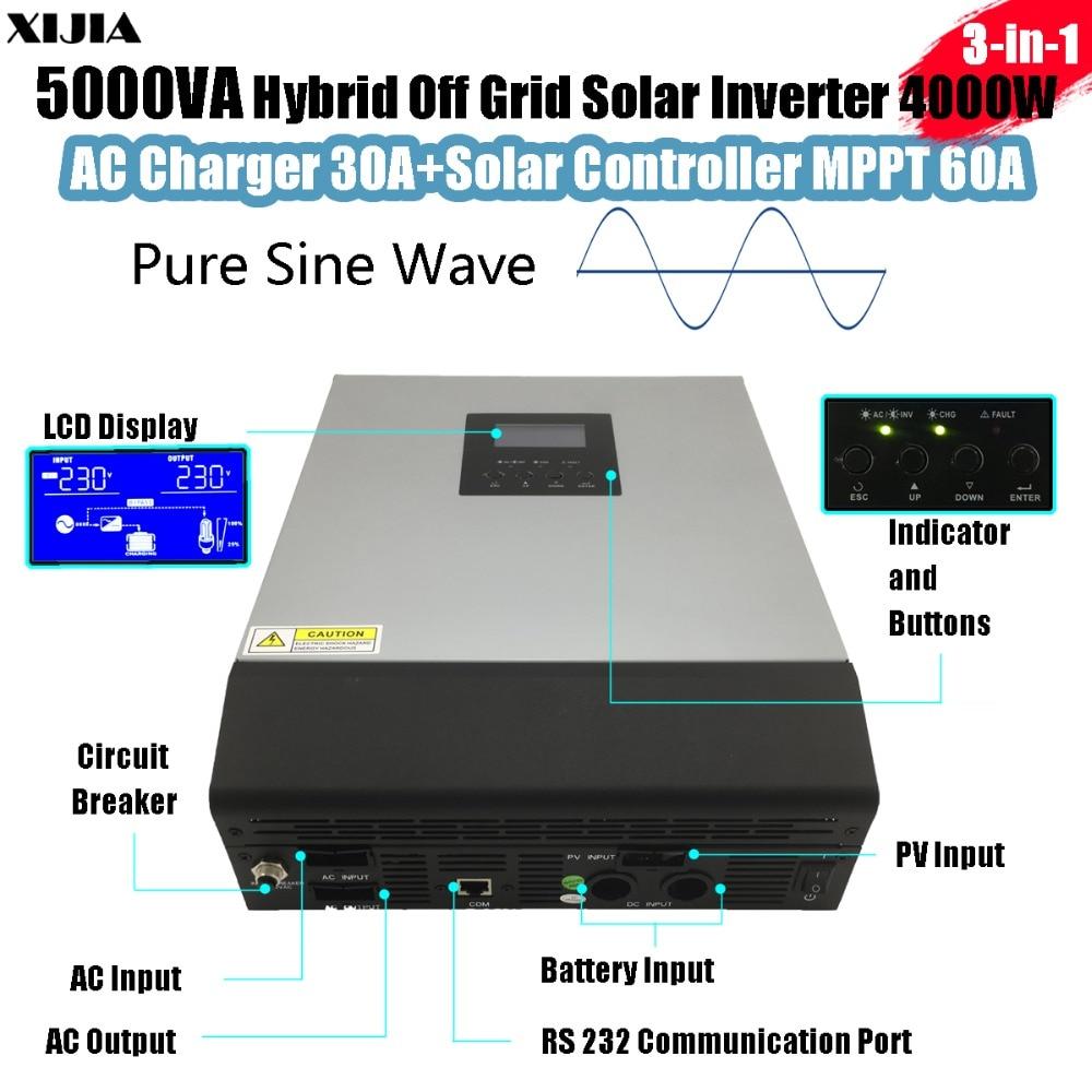 5000VA Hybrid Pure Sine-wave Inverter with AC Charger+MPPT Solar Controller DC 48V to AC 220V/230V/240V 4000W 5000va hybrid pure sine wave inverter with ac charger mppt solar controller dc 48v to ac 220v 230v 240v 4000w