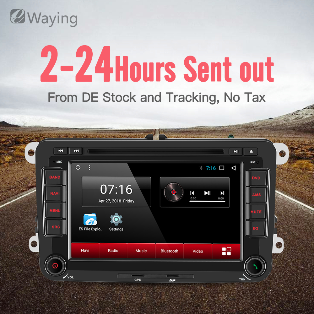 Ewaying Android 7,1 г 2 г G + 16G четырехъядерный Автомобильный мультимедийный плеер gps навигация Авторадио для Volkswagen/Passat/POLO/GOLF/Seat/Leon