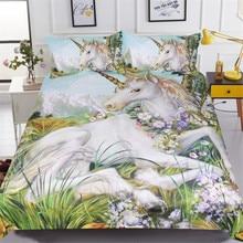 BeddingOutlet 3d Unicorn Bedding Set Queen Size Watercolor Print Bed Set Kids Girl Flower Duvet Cover Colored Dreamlike Bedlinen