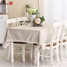 Basic Linen Tablecloth with Lace Elegant Ivory Beige Pastoral Table Cover Dining Cloth Cotton Tablecloths Customized