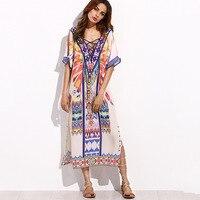 Vestido largo Floral del Hippie de Boho Chic Vestidos de Playa Vestido suelto mujeres de gran tamaño de impresión de ambos lados Vestidos De Festa Longo túnicas