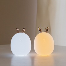 Lámpara LED de silicona con Sensor táctil para niños y bebés, lámpara LED con diseño de ciervo y conejo, para decoración de mesita de noche o Navidad