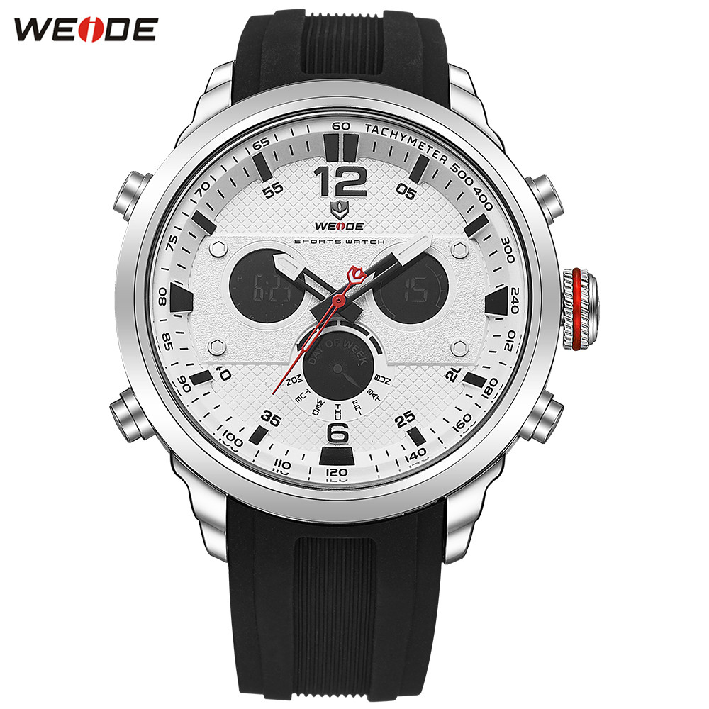 Fashion Casual WEIDE Men LED Watch Functional Sport Watch Men Digital Quartz Watch Men Date Day Stopwatch Rubber Band Wristwatch speatak sp9041g fashionable men s quartz watch w six stitch stopwatch black golden 1x lr626