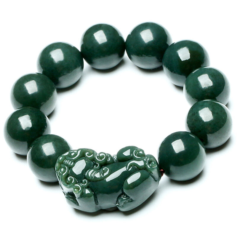 Koraba Fine Jewelry Xinjiang and Tian Jade Beads Hand-carved The Chinese Dragon's Pixiu Bracelet Free Shipping