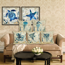 RECOLOUR Sea Turtle Printed Cotton Linen Cushion Cover Marine Ocean  Home Decor Pillowcase Octopus pillow cover Sofa cojines