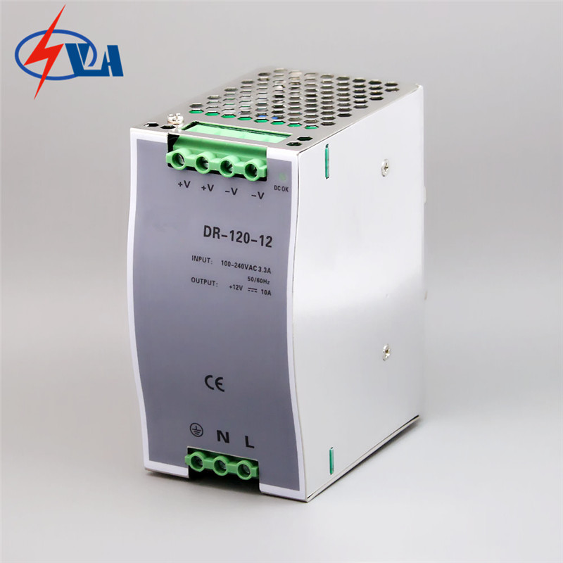 DR-120-24 input output switching power supply converter din rail  full voltage 24V 5A 120W dhl ems md 240 24 1 din rail power supply metal case 24v 10a output 85 264vac input c4 d9