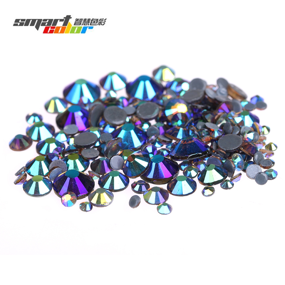 Smoked Topaz AB High Shine Hotfix Rhinestones Round Glass Iron On Strass Diamonds With Glue Backing DIY Craft Decorations