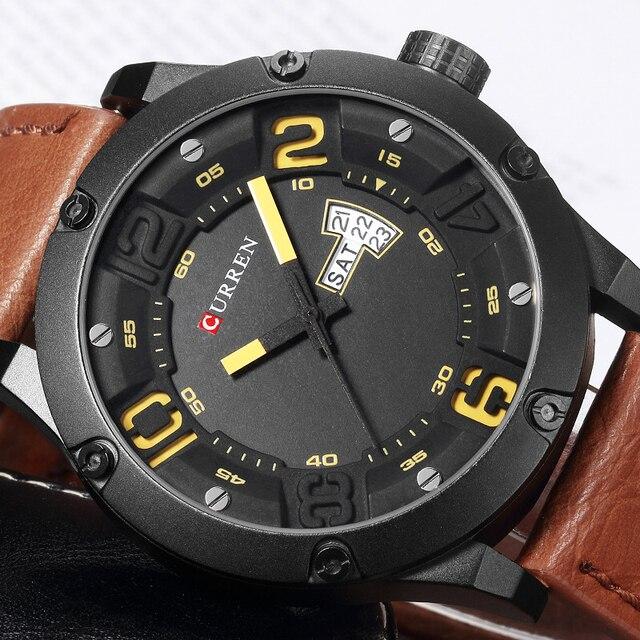 ad804235a53 Original novo Curren homens Relógios Top Marca de Luxo Homens Relógio de Quartzo  Pulseira de Couro