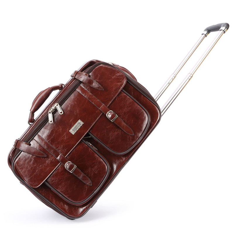 20inch vintage brown cow split leather trolley luggage on fixed caster wheels,man high quality commercial travel bags with rod