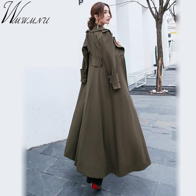 2018 Spring New women windproof Jacket big Hem X-Long Slim Coat autumn plus size 4XL windbreaker For Women