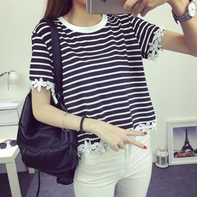 Striped Tshirt Women O-neck Short Sleeve Casual Korean Clothes Summer 2017 Loose Tops&Tees Black,White Plus Size 2XL Hot Sale