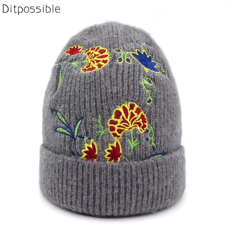 Ditpossible flowers embroidery beanies winter hats gilrs skullies cap women\'s hat bonnet gorro