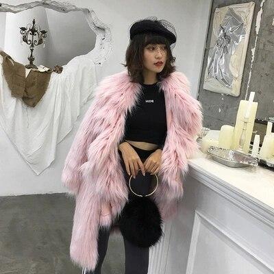 Gamme Manteau Haut Fausse Mode Femmes pink En 2018 De Fourrure Nouveau Blue C11 Style IvqEwxS4