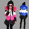 Children's Slim Down Jacket Girls Outwear Coat Hooded Fur Collar Kids Winter Jackets for Girls Patchwork Casual Long Coat TZ108