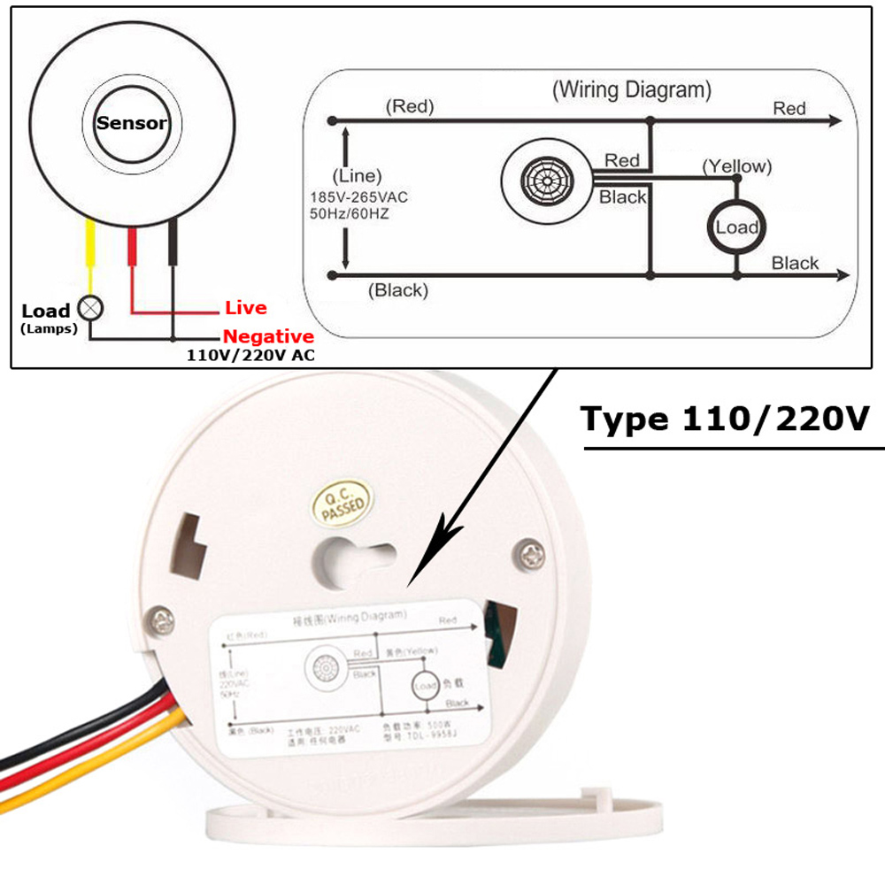 Pir Sensor 220v 12v Motion Light Switch 110v Detector Wiring Diagram Movement Automatic Infrared Led Ceiling On Off With Timer In Switches From Lights