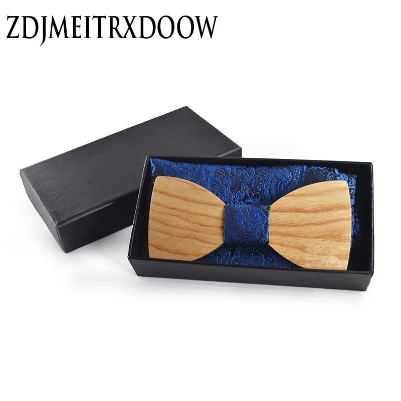 Karácsonyi ajándék Esküvői fa csokornyakkendő a Hanky-vel Állítsa a férfiak nyakkendőjét DIY Design Férfi Pocket Square Fa nyakkendő Gravata bowties
