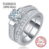 100 Real 925 Sterling Silver Rings Set Hearts And Arrows 1ct CZ Diamond Wedding Rings For