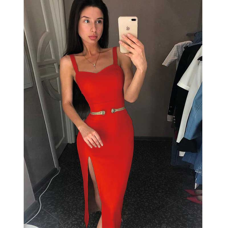 wholesale 2019 Newest Women Black red beige Spaghetti Strap Fashion casual celebrity Cocktail party bandage dress L2819 in Dresses from Women 39 s Clothing