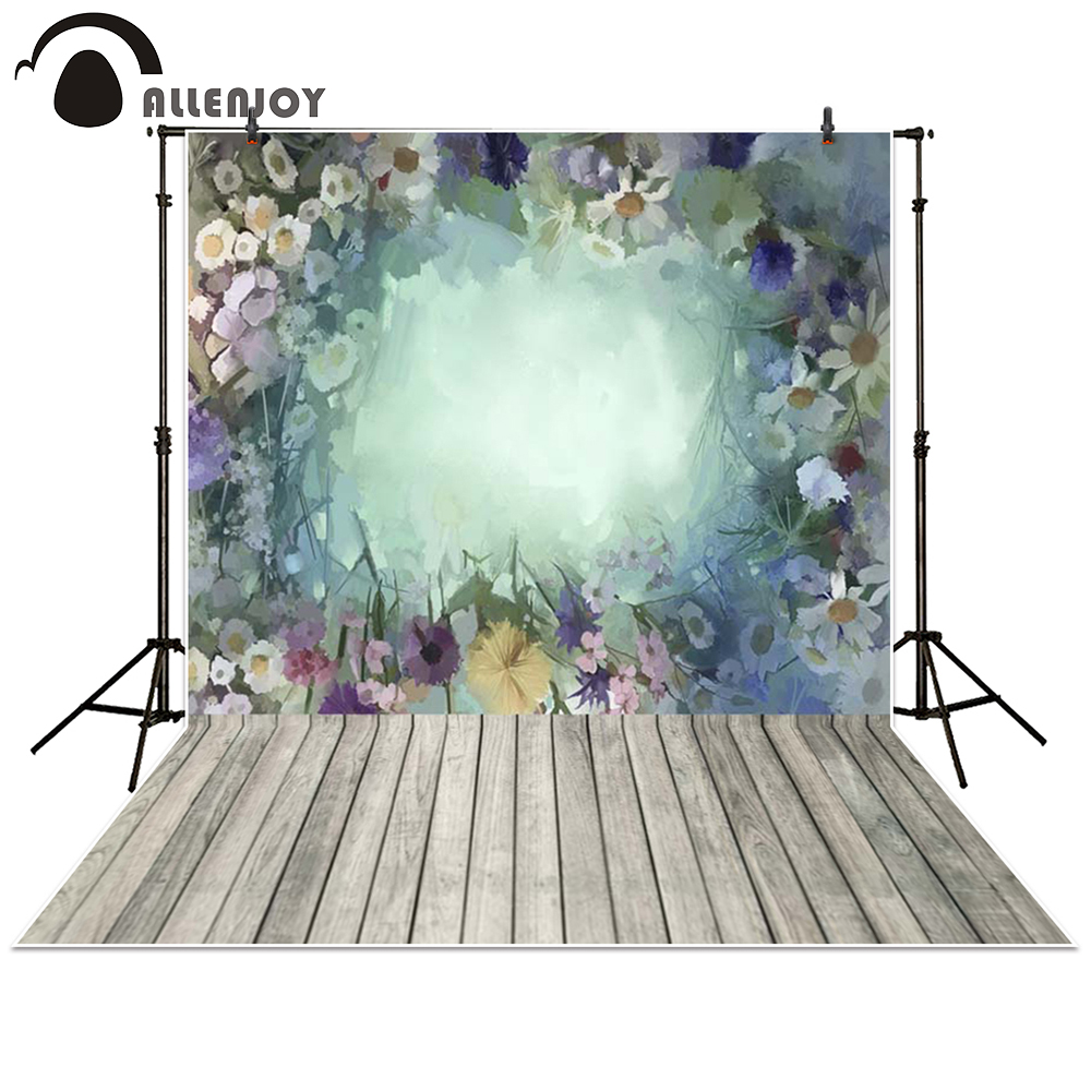 Allenjoy photography backdrop garden Wooden floor color flower hazy baby shower children background photo studio photocall спортивный инвентарь shantou gepai игра с липучкой