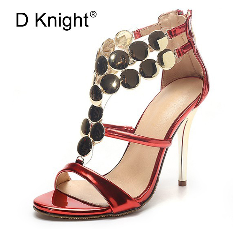 Sexy Bling Gladiator Sandals Women New Summer Thin High Heels Platform Wedding Shoes Woman Elegant Zip Pumps Plus Size 34-43 E37 phyanic wedges gladiator sandals 2017 new bling glitters high heels summer platform shoes woman casual creepers xdy8006
