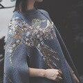 AS043 новая зимняя птица орел узор вышивки СЕРЫЙ И ЧЕРНЫЙ вязание плащ платки пальто МОДА