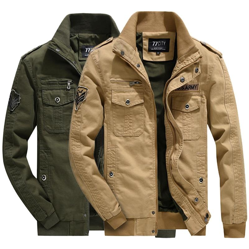 Bomber Military jacket Casual Mens Jackets Military Aviator tactical Men Flight Coats Men Flight Air Force Clothes Jacket Coats gathered zip sleeve flight jacket